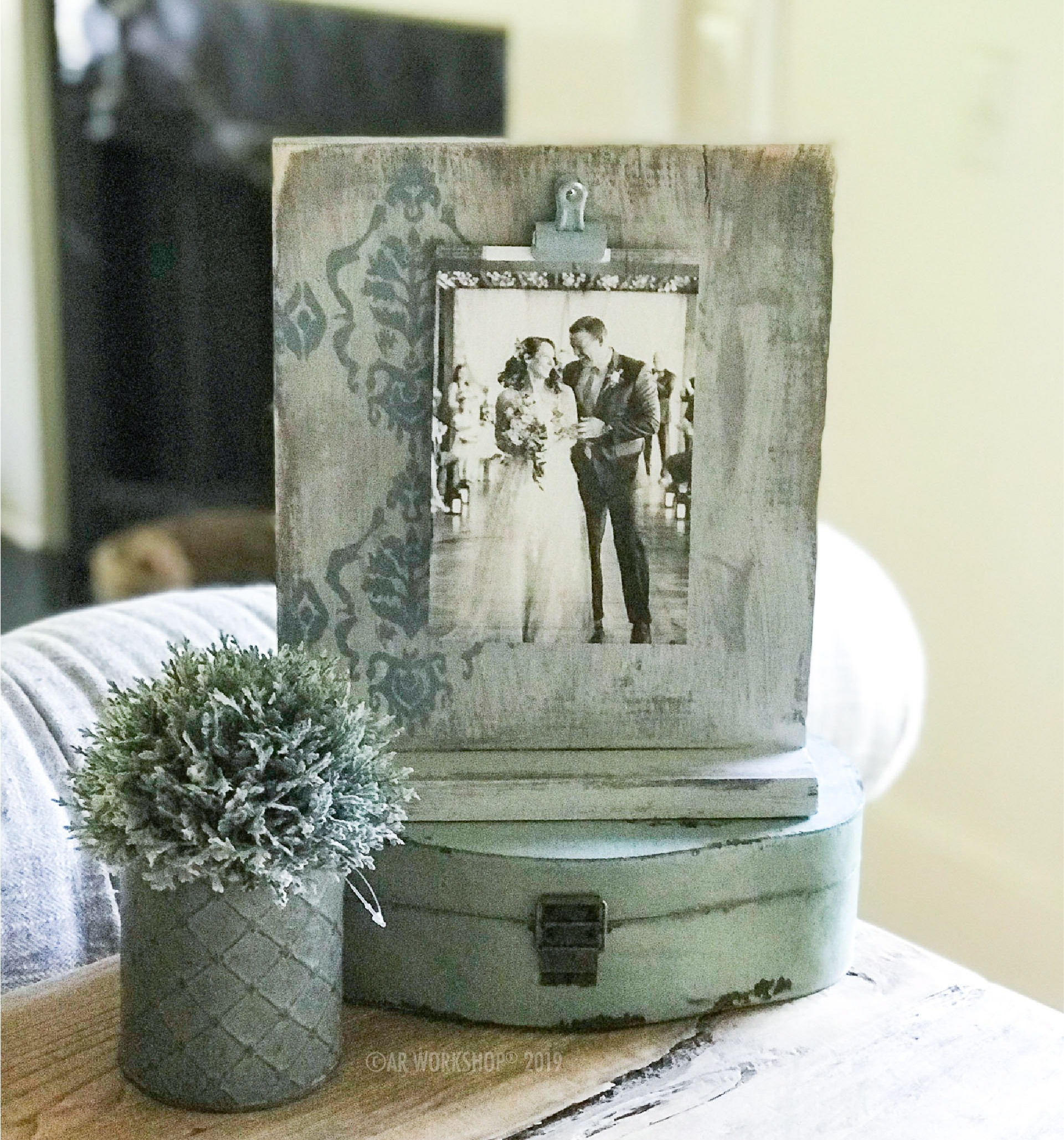 boho damask standing photo frame - square