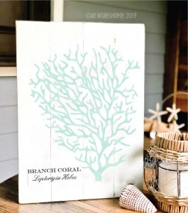 branch coral plank sign 14x19