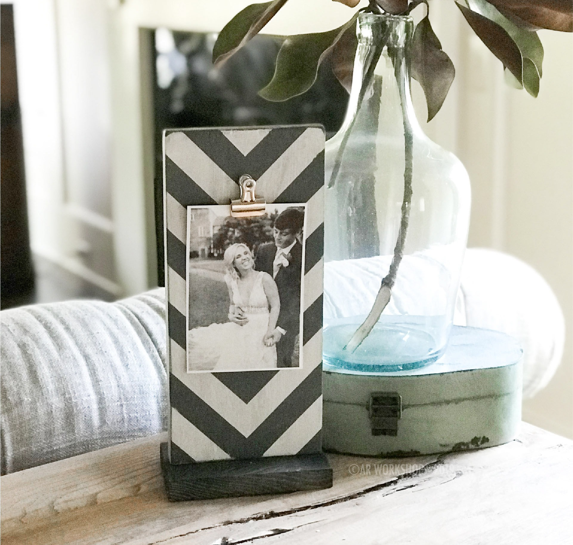 chevron pattern standing photo frame - vertical