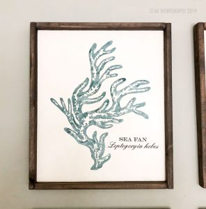 coral series sea fan framed sign 18x21