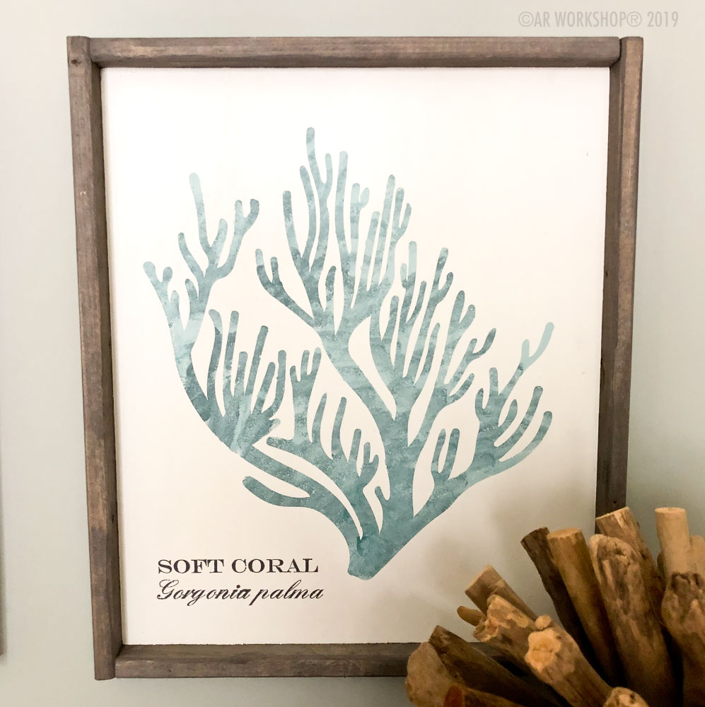 coral series soft coral framed sign 18x21