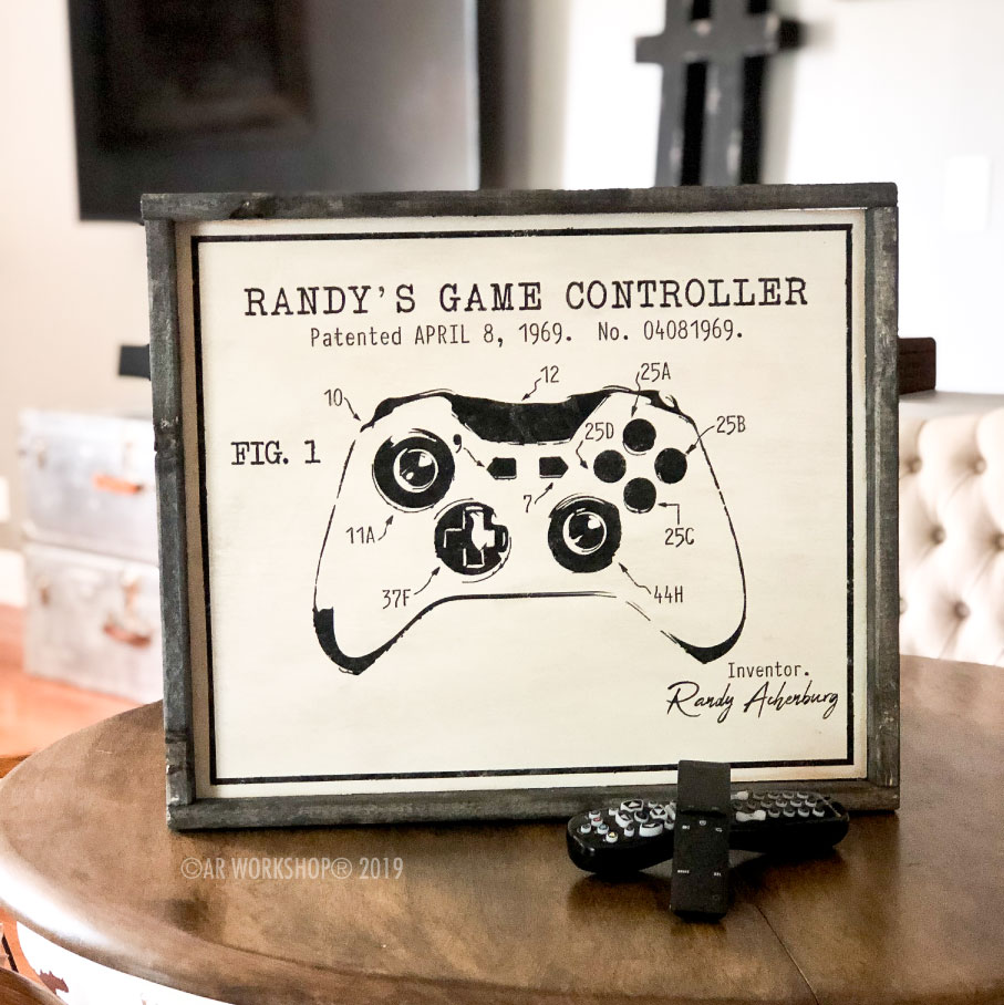 game controller patent framed sign 18x21