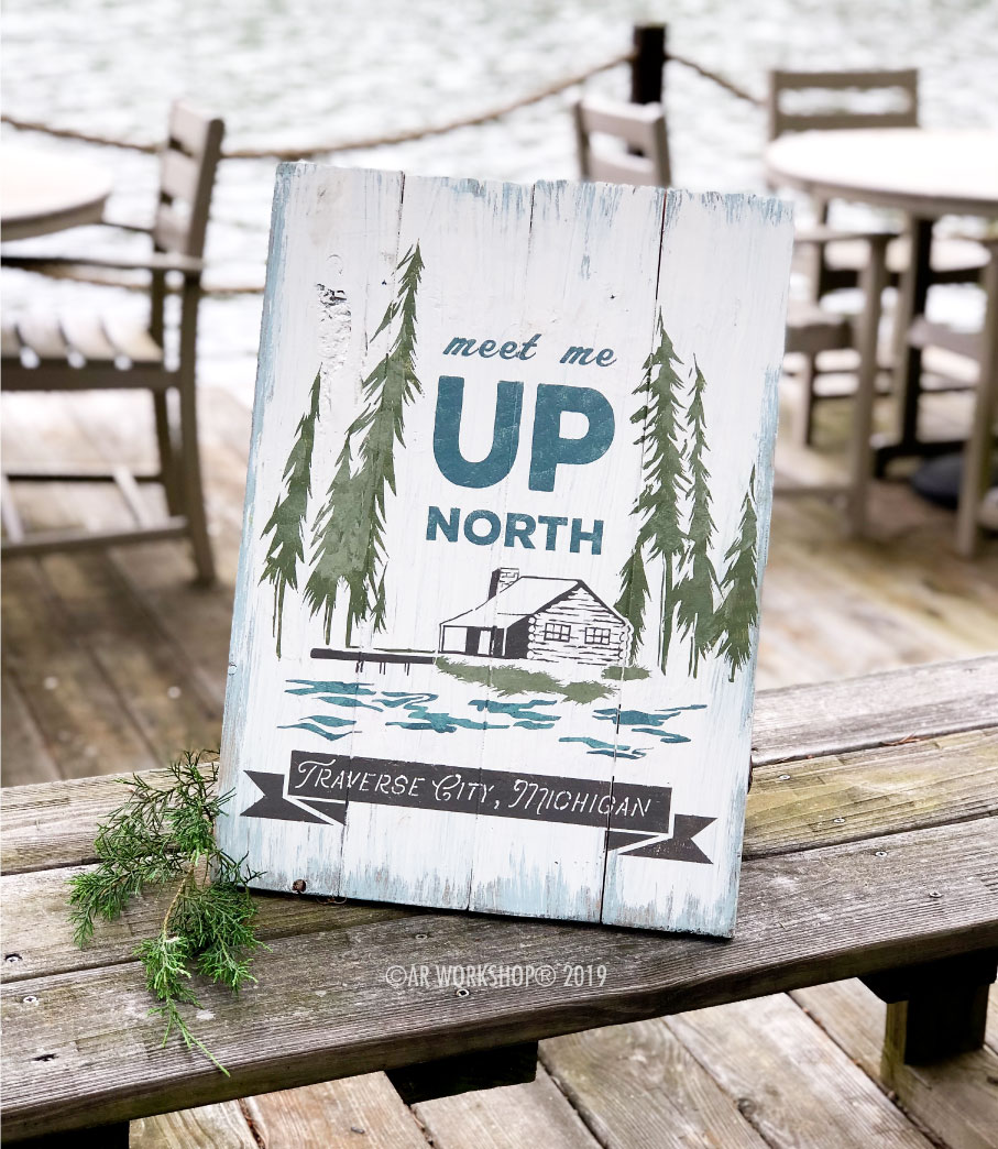 meet me up north cottage plank sign 14x19