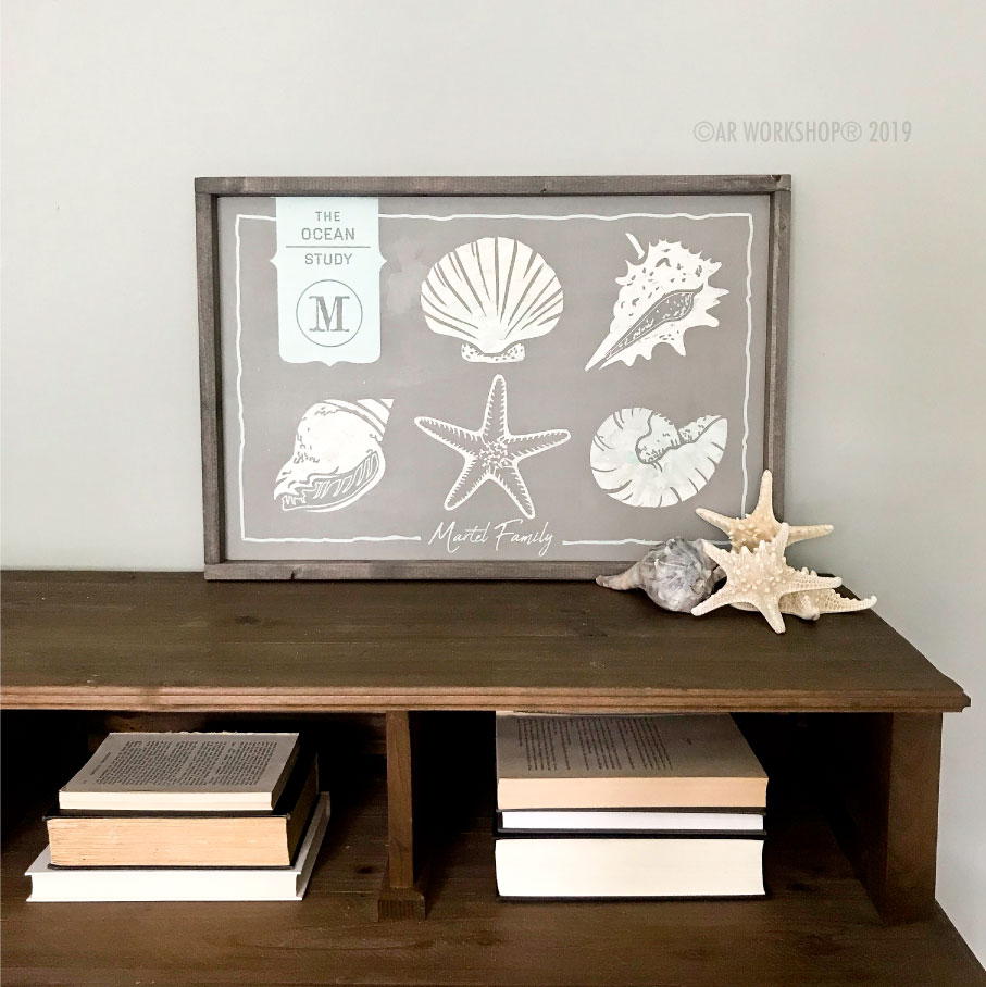ocean study shells framed sign 18x26