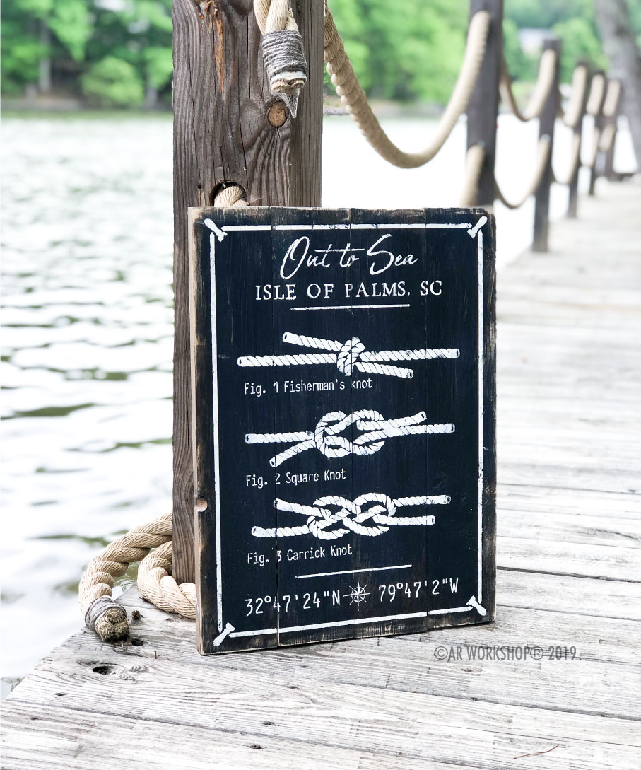 out to sea nautical knots plank sign 14x19