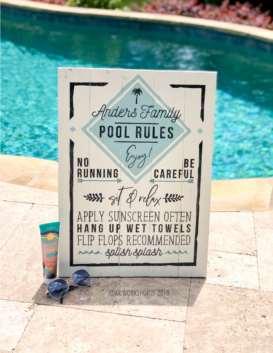 pool rules plank sign 17.5x24 (also available as lake or beach)