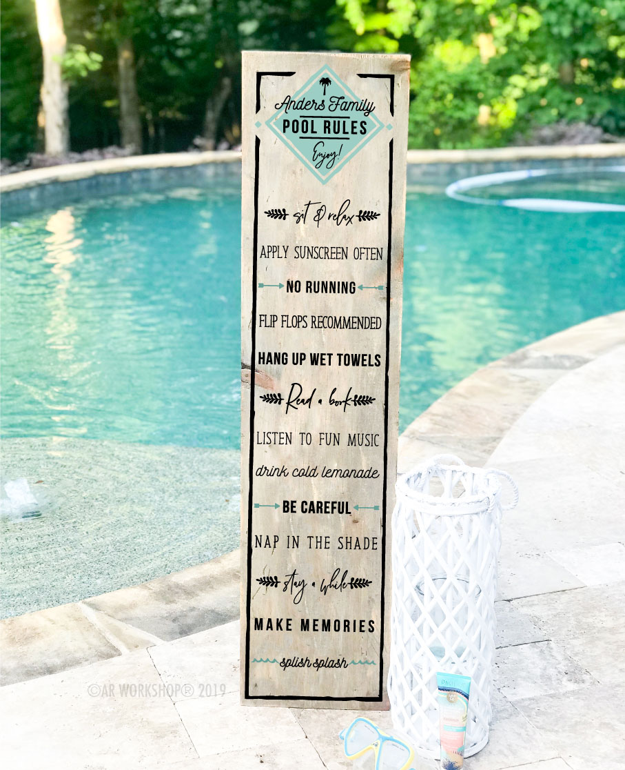 pool rules porch sign 12x48