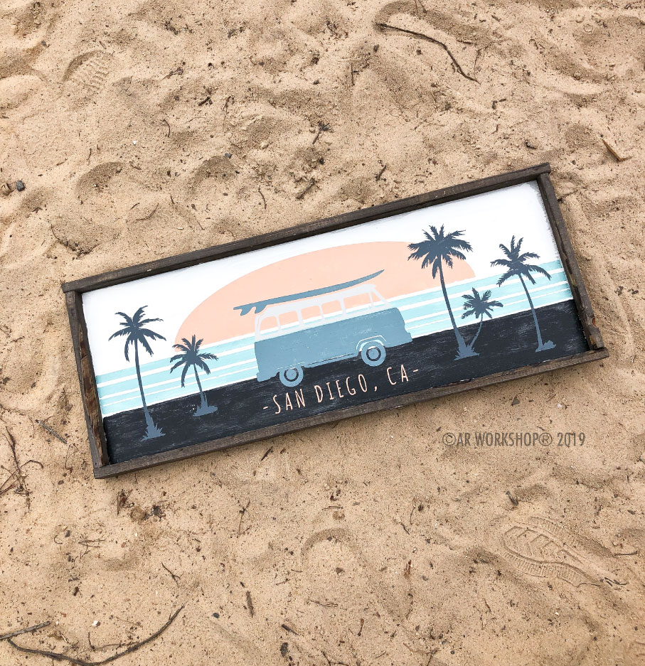 retro sunset framed sign 14x34