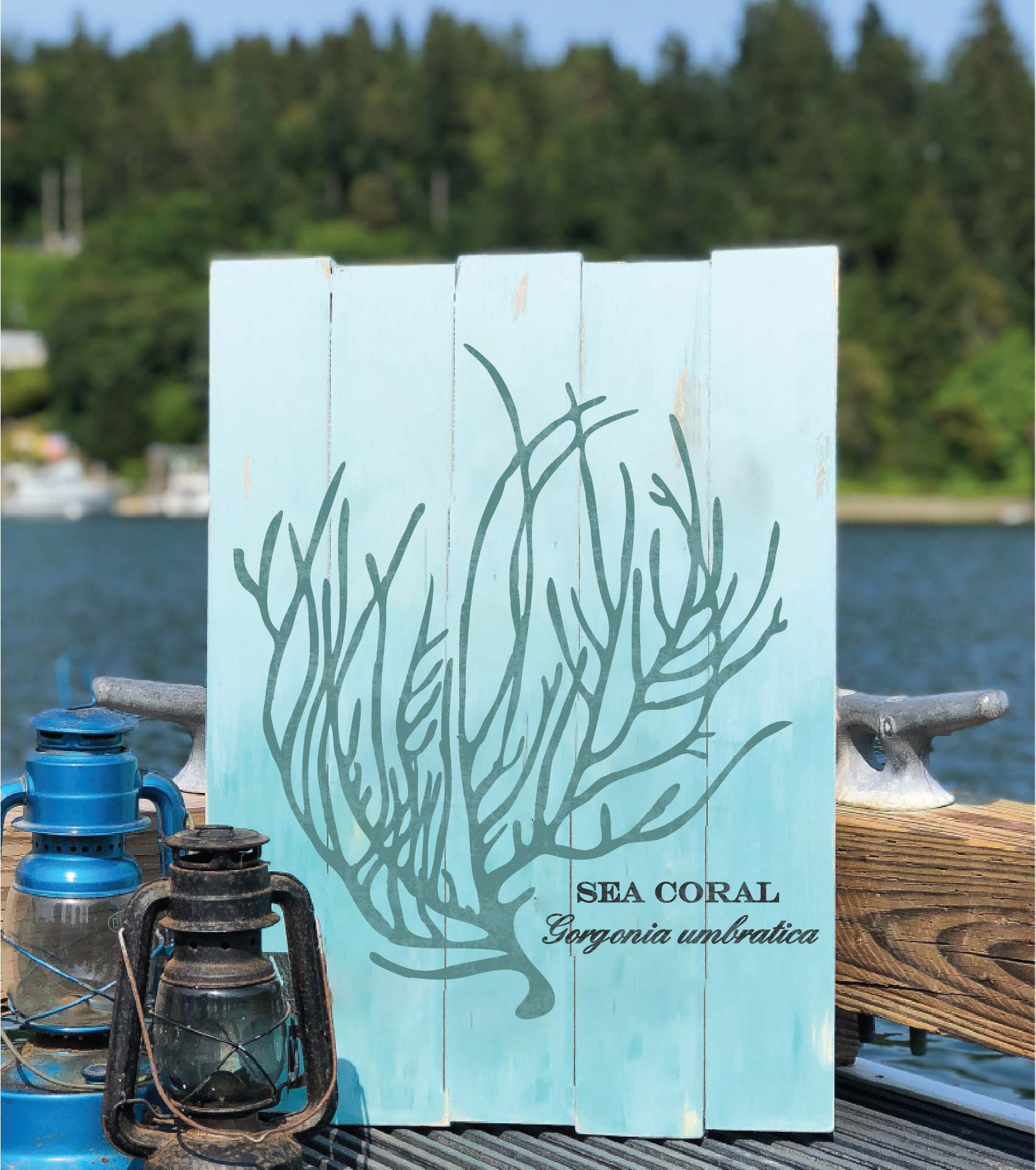 sea coral plank sign 17.5x24