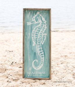 seahorse classification framed sign 14x34