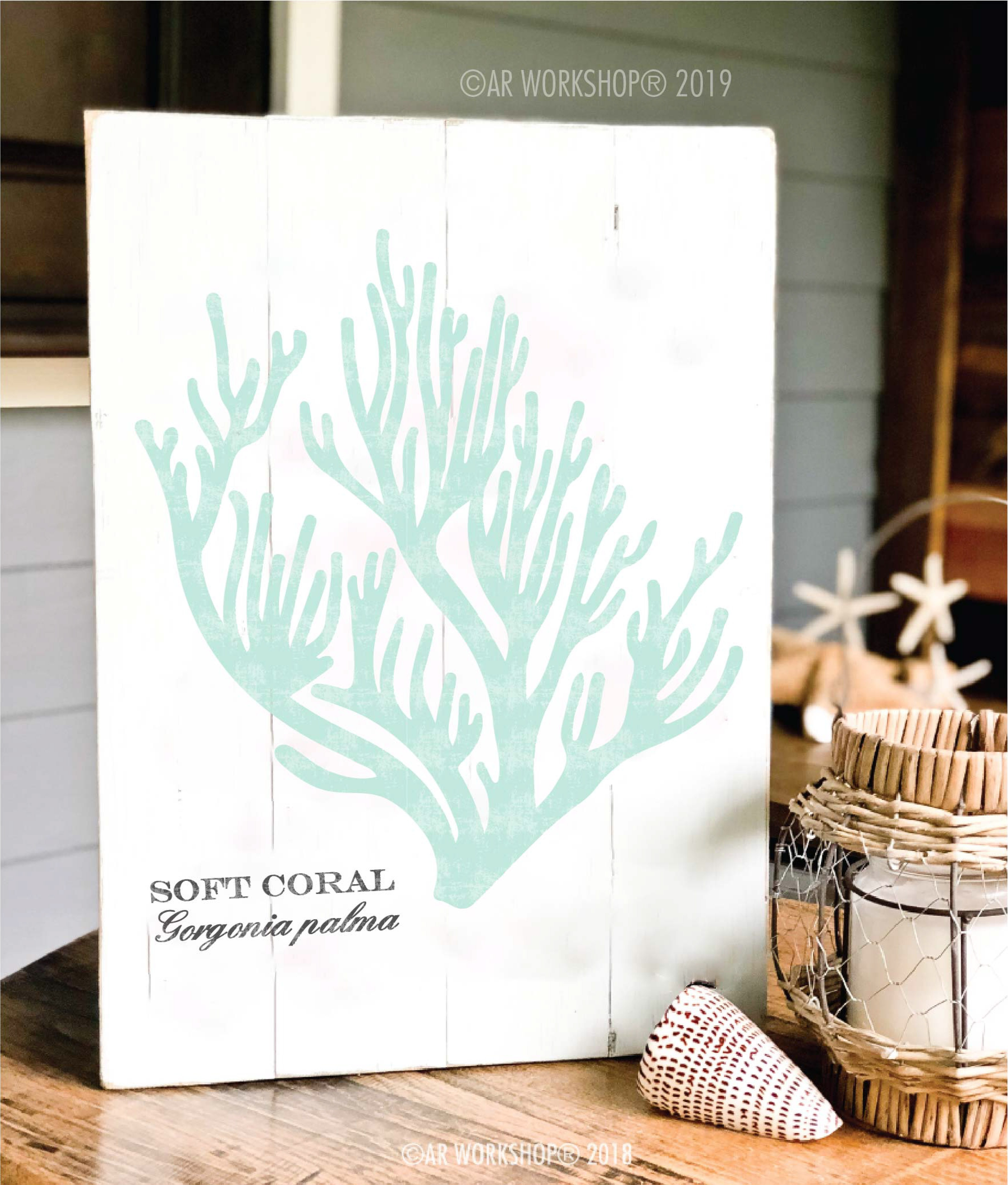 soft coral plank sign 14x19