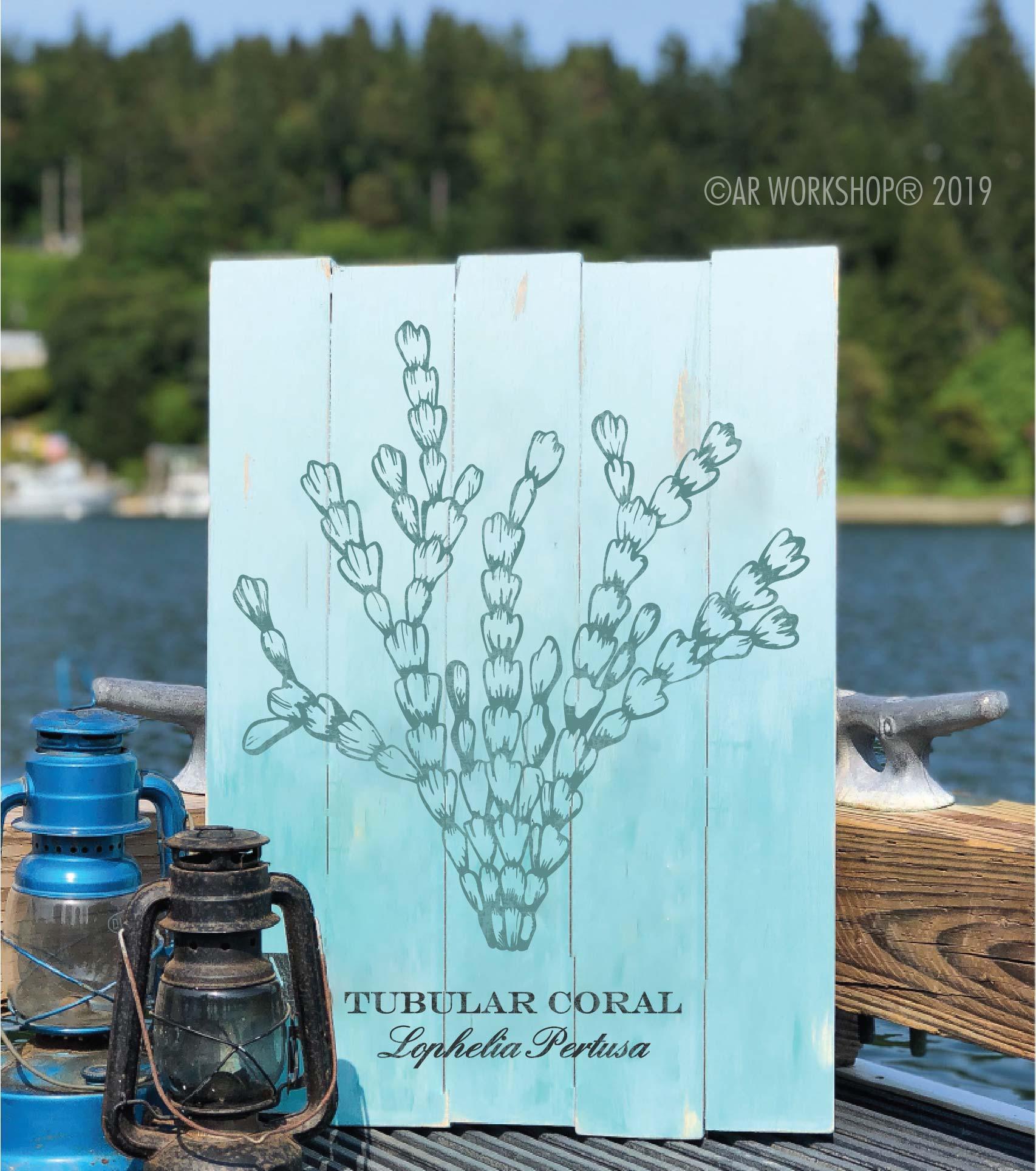 tubular coral plank sign 17.5x24