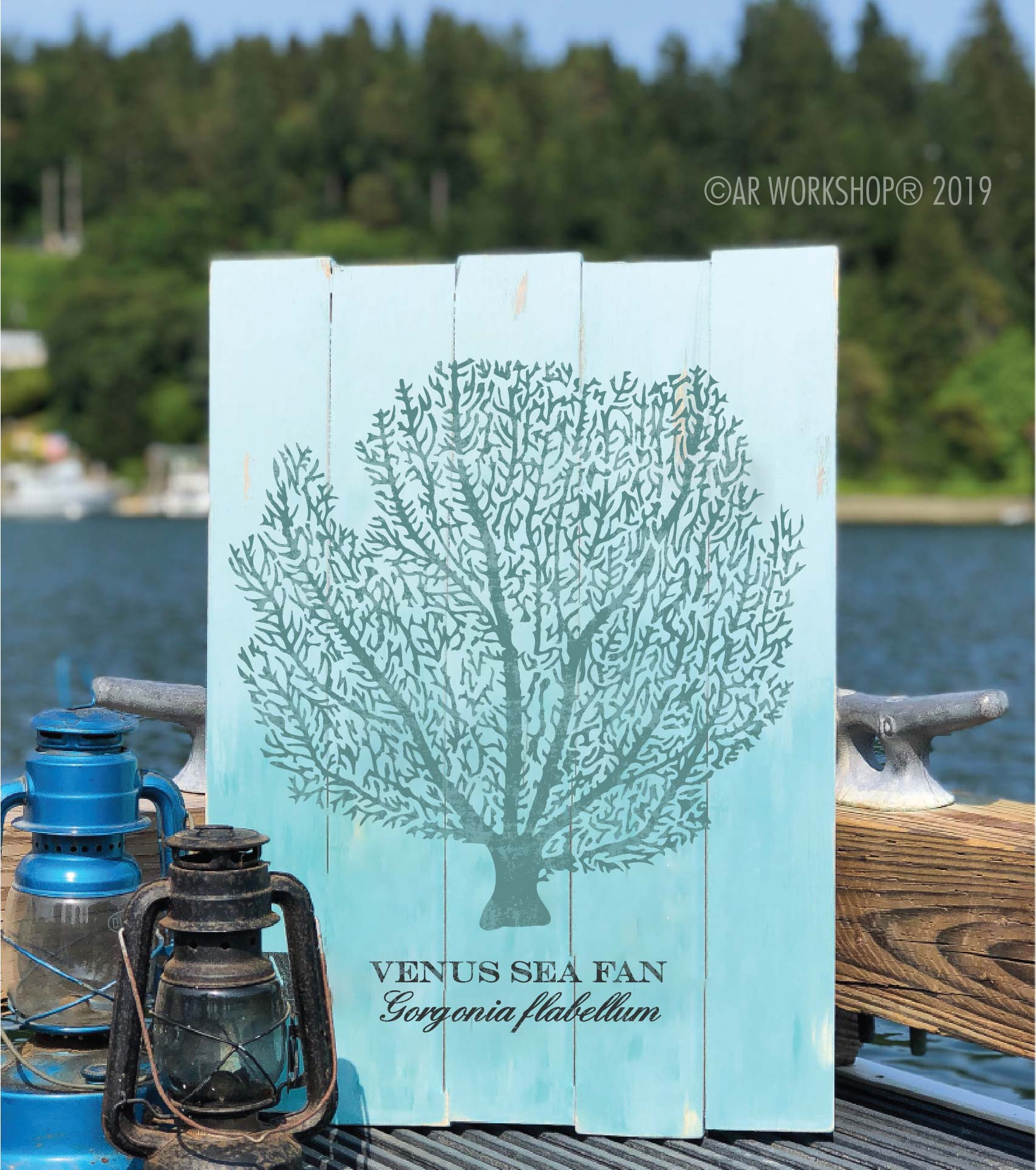 venus sea fan plank sign 17.5x24