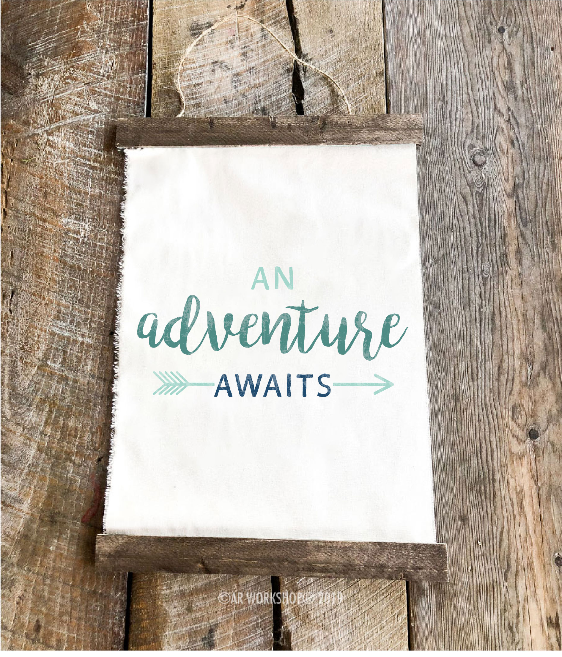 an adventure awaits youth canvas hanging