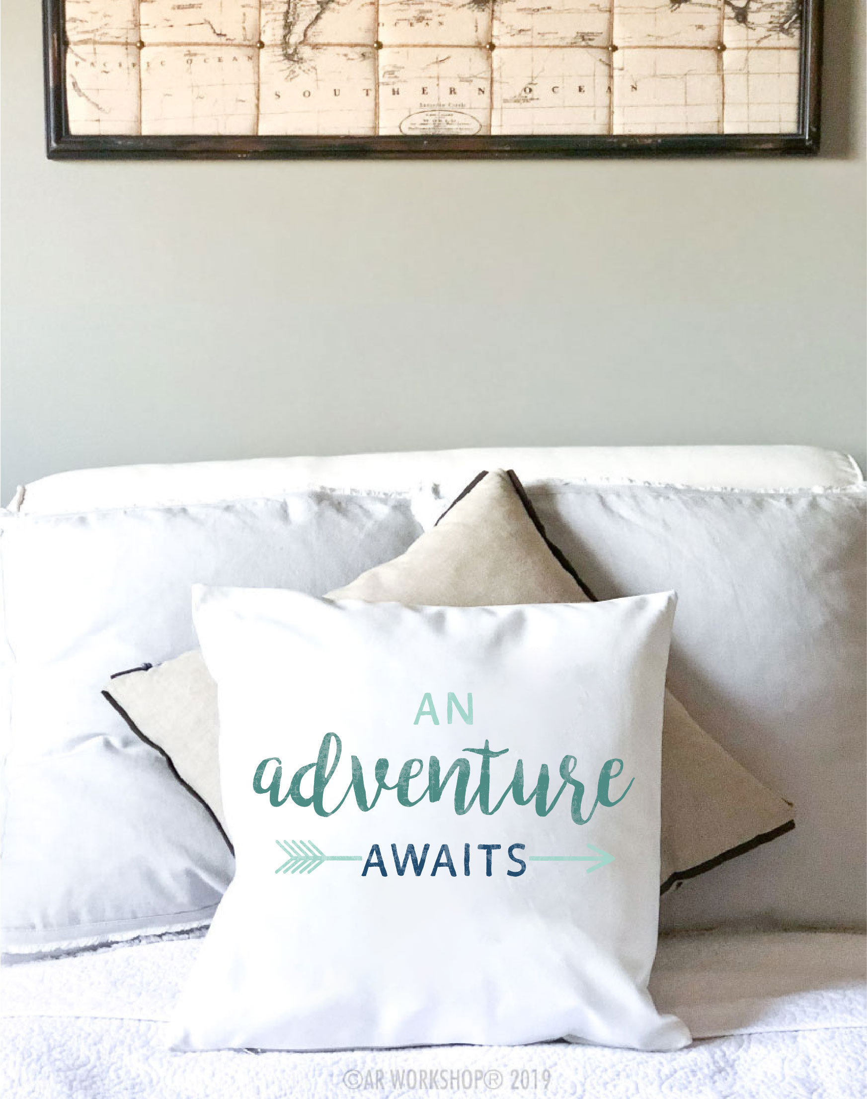 an adventure awaits canvas pillow