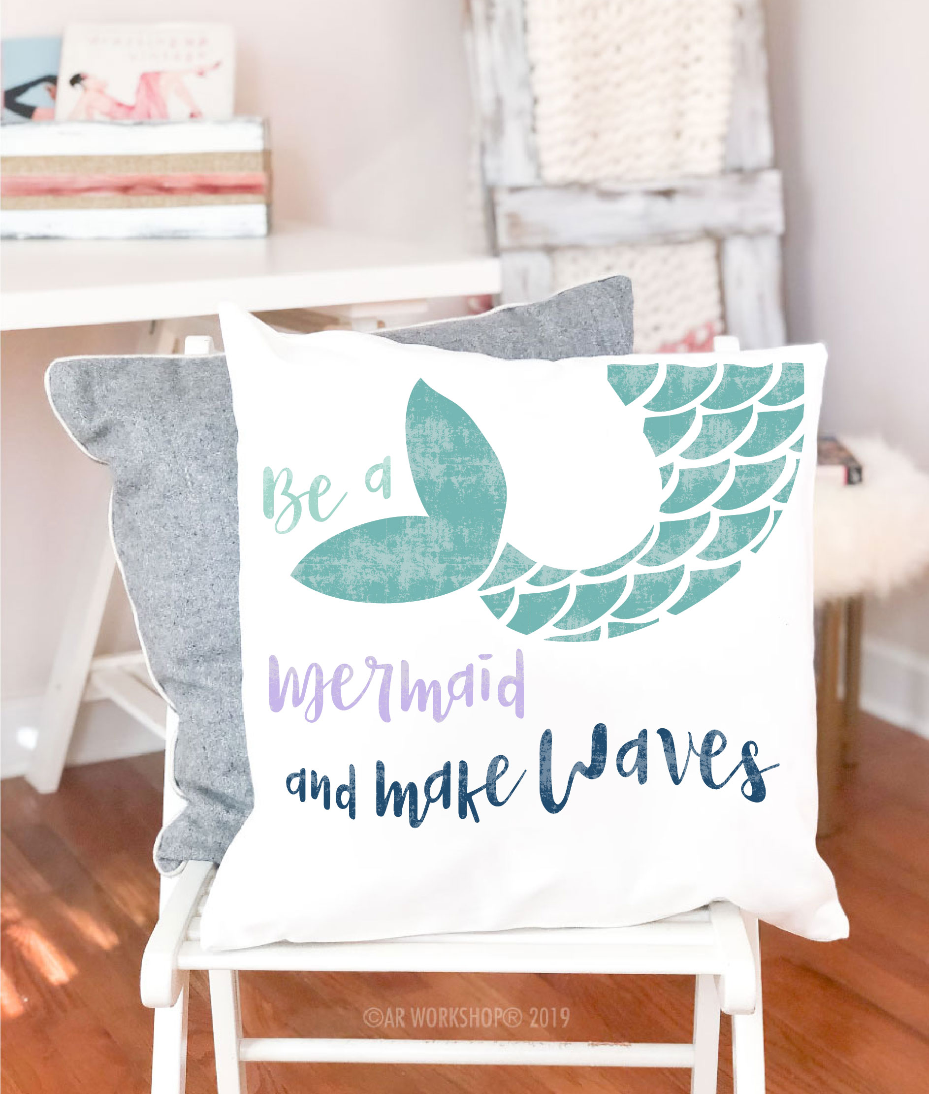 be a mermaid canvas pillow