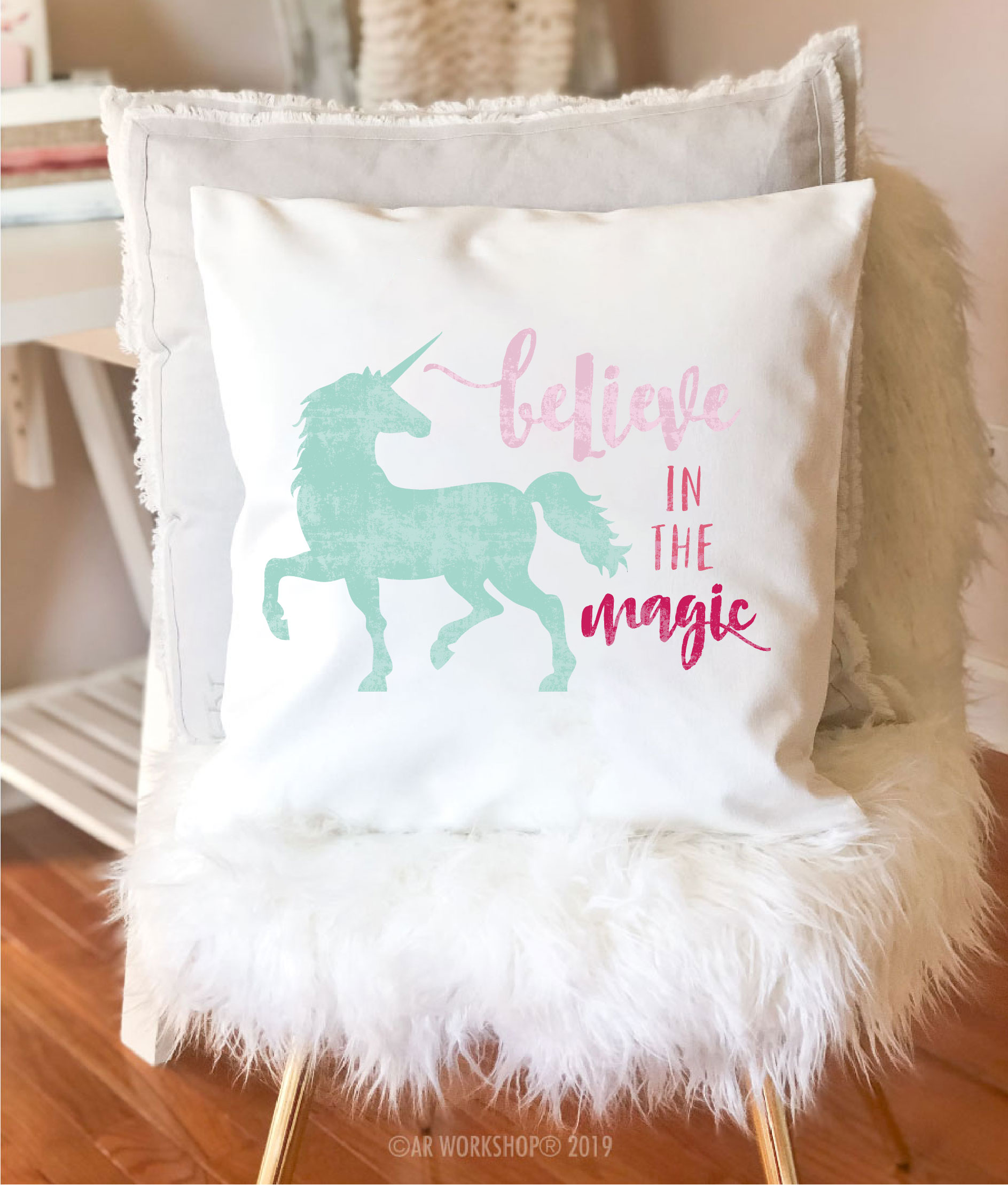 believe in the magic unicorn canvas pillow