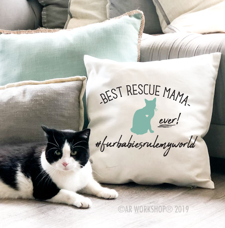 best rescue mama ever cat canvas pillow