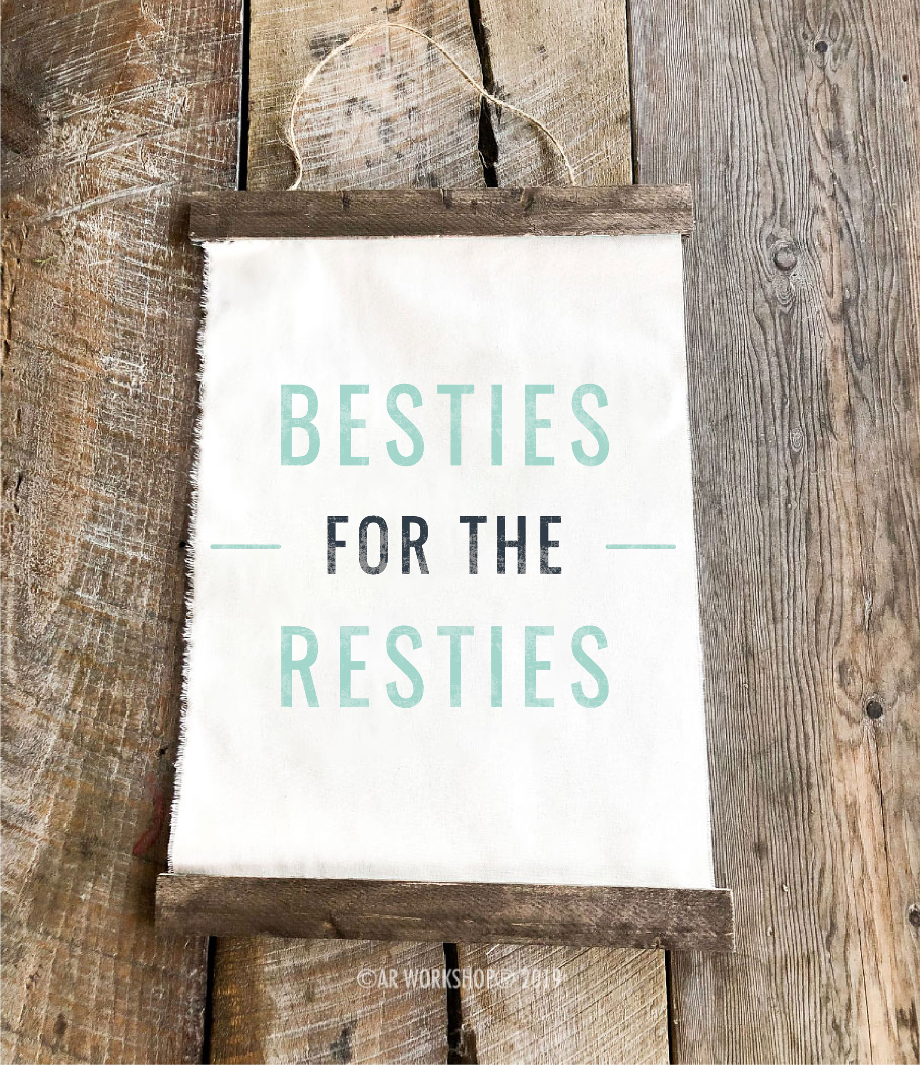 besties for the resties youth canvas hanging