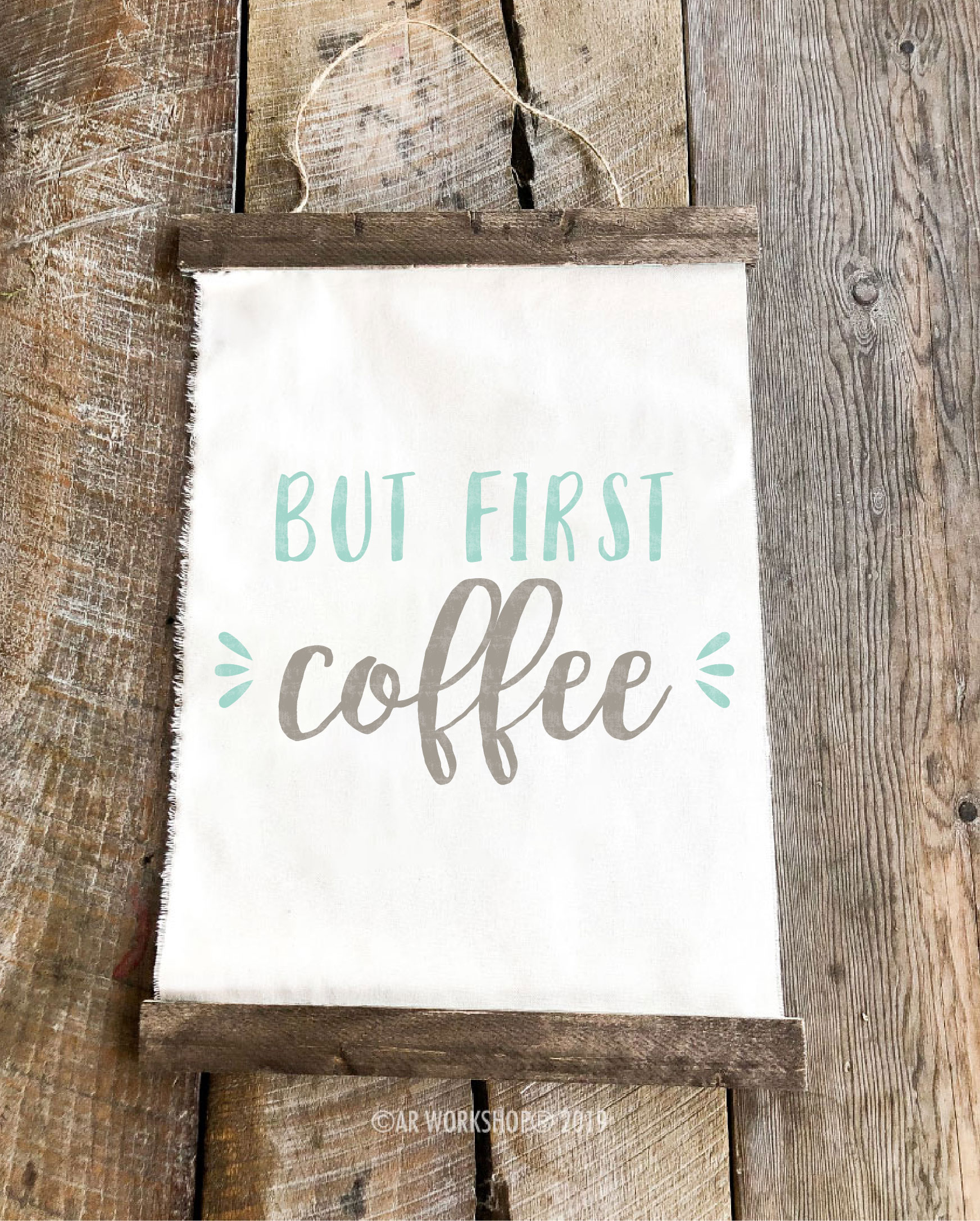 but first coffee youth canvas hanging