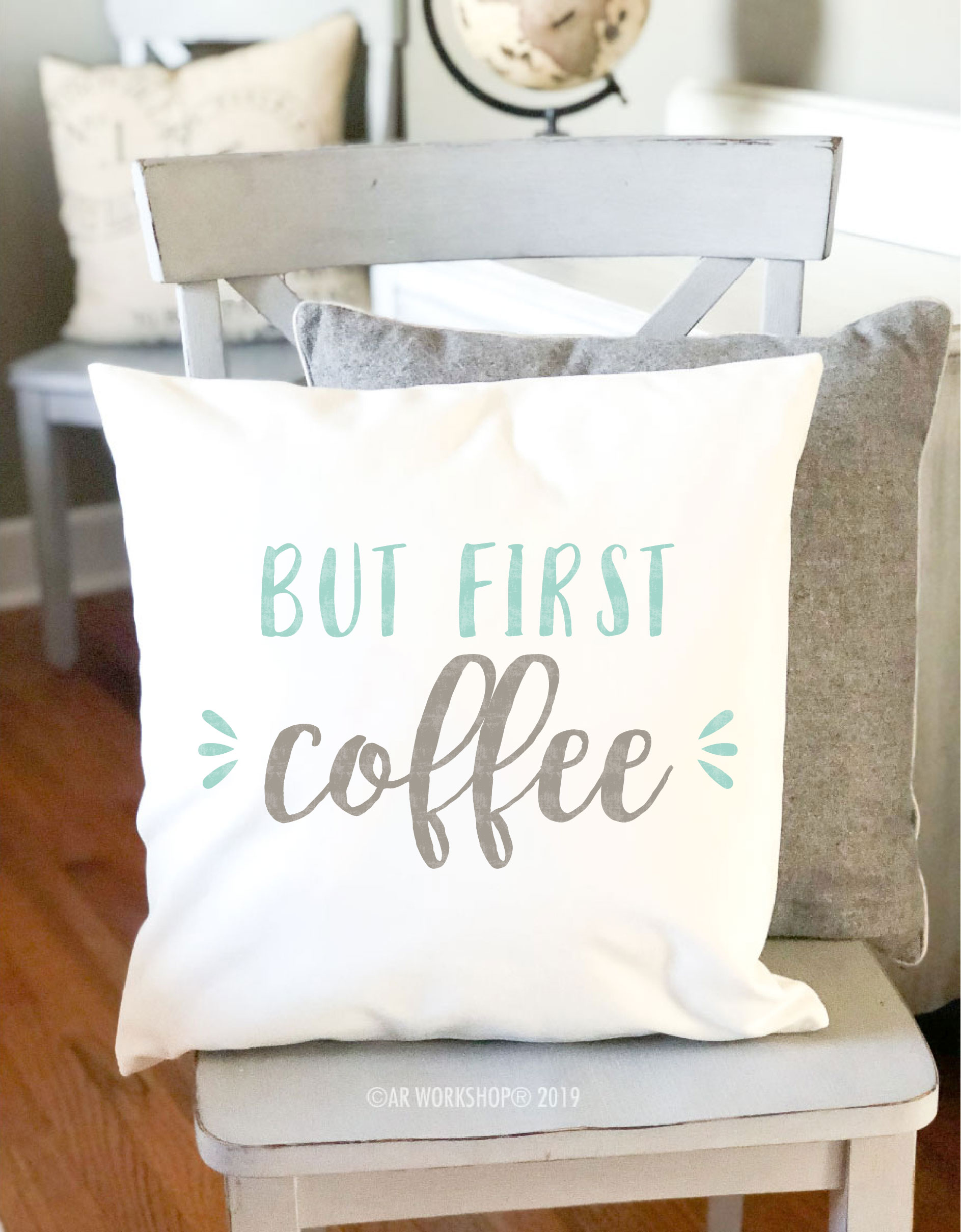 but first coffee canvas pillow