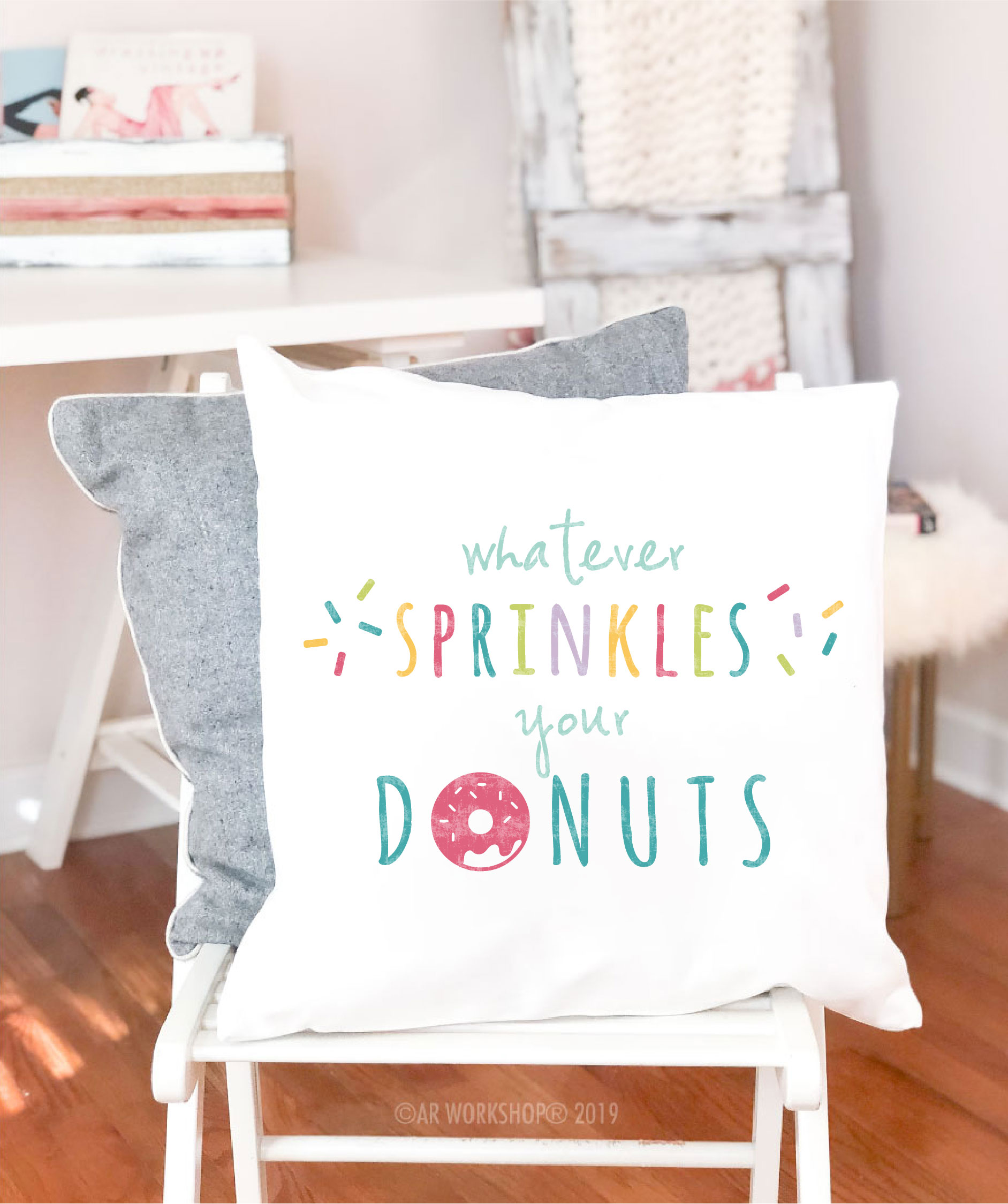 donut sprinkes canvas pillow