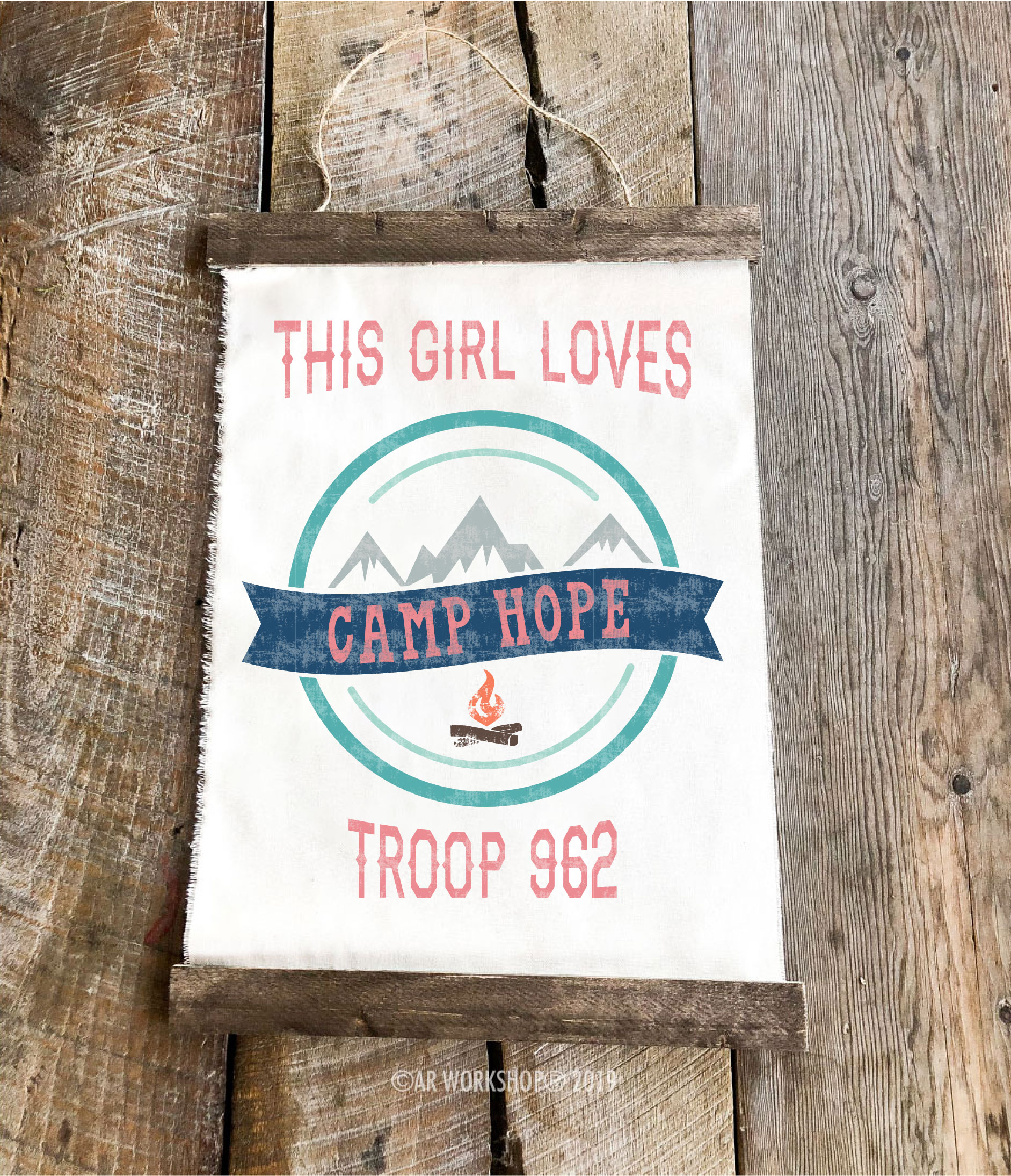 girl camp scout youth canvas hanging