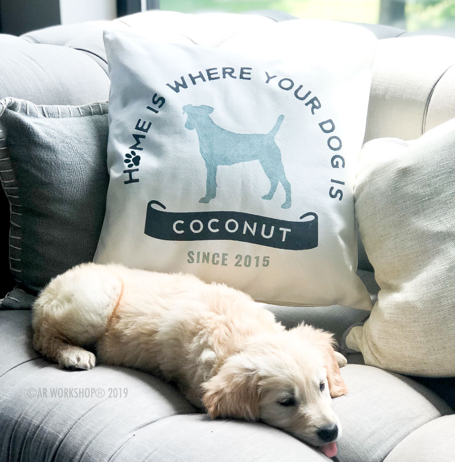 home is where your dog is canvas pillow