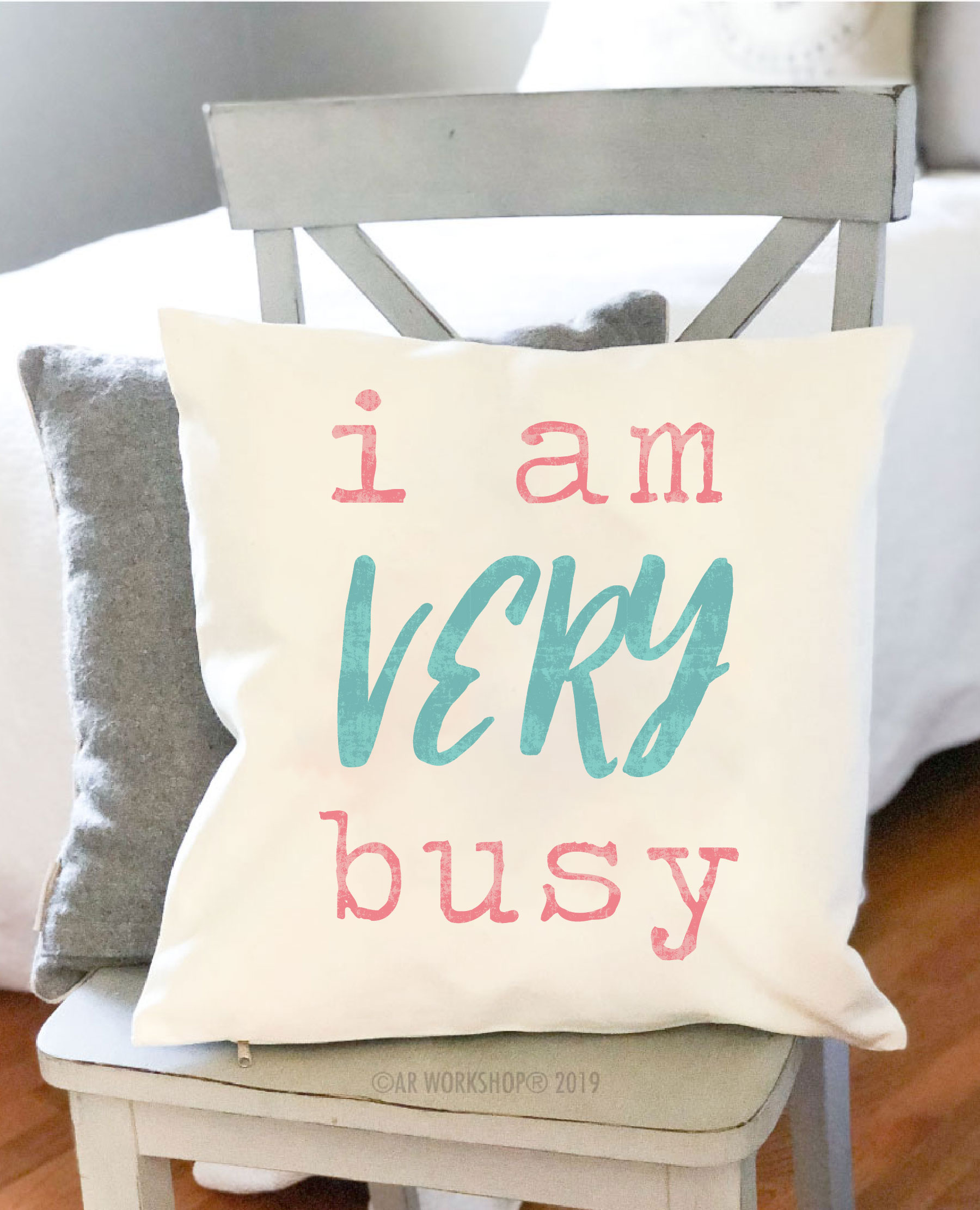 i am very busy canvas pillow