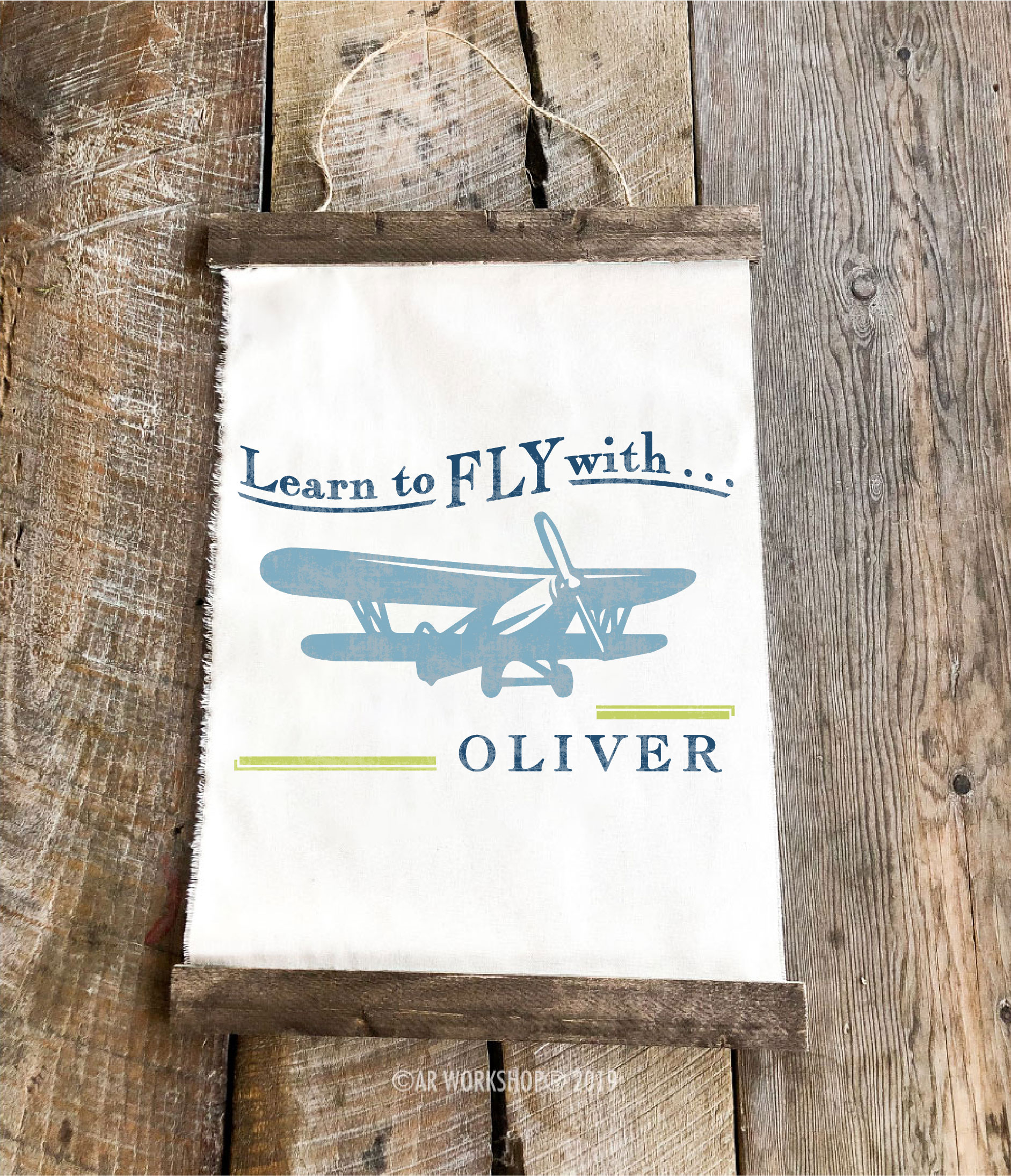 learn to fly airplane youth canvas hanging