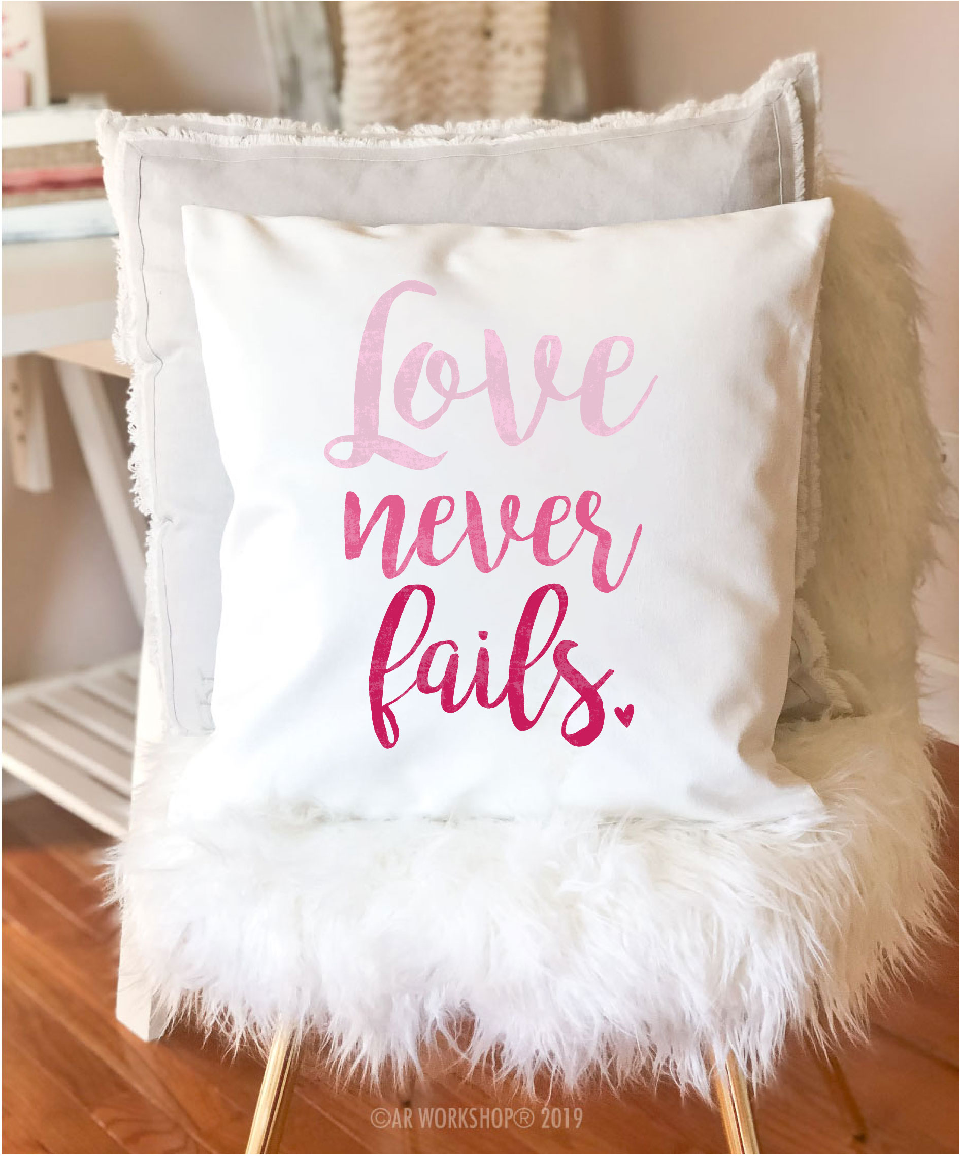 love never fails canvas pillow