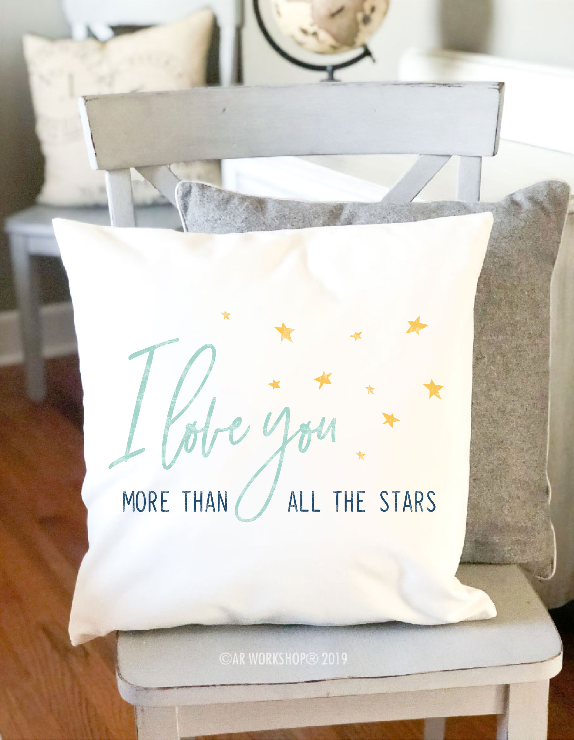 love you more than all the stars canvas pillow