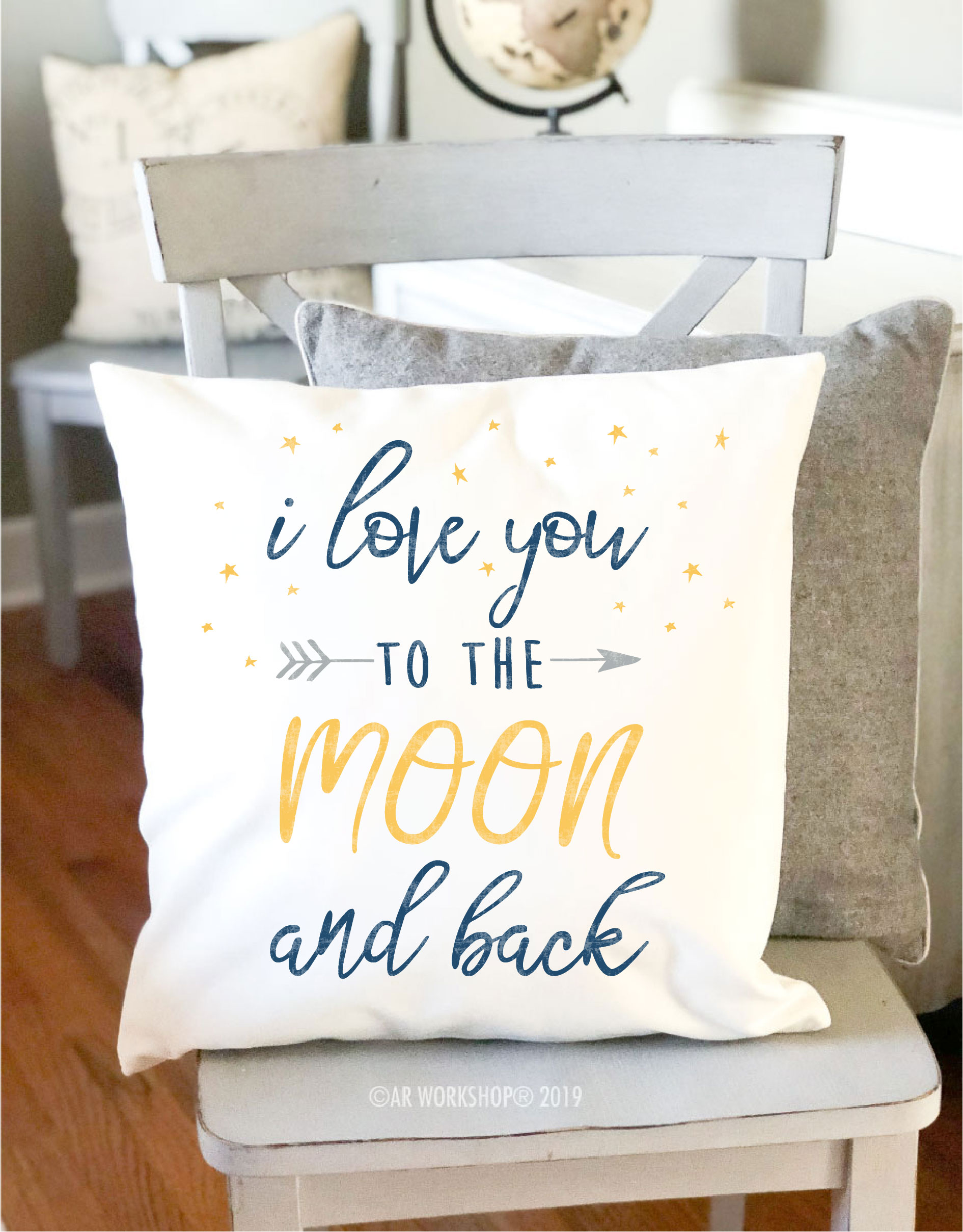 love you to the moon canvas pillow