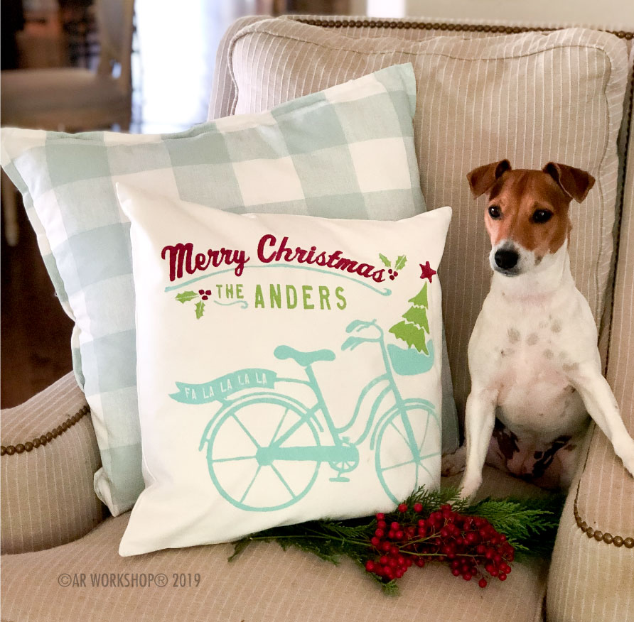 merry christmas bicycle canvas pillow