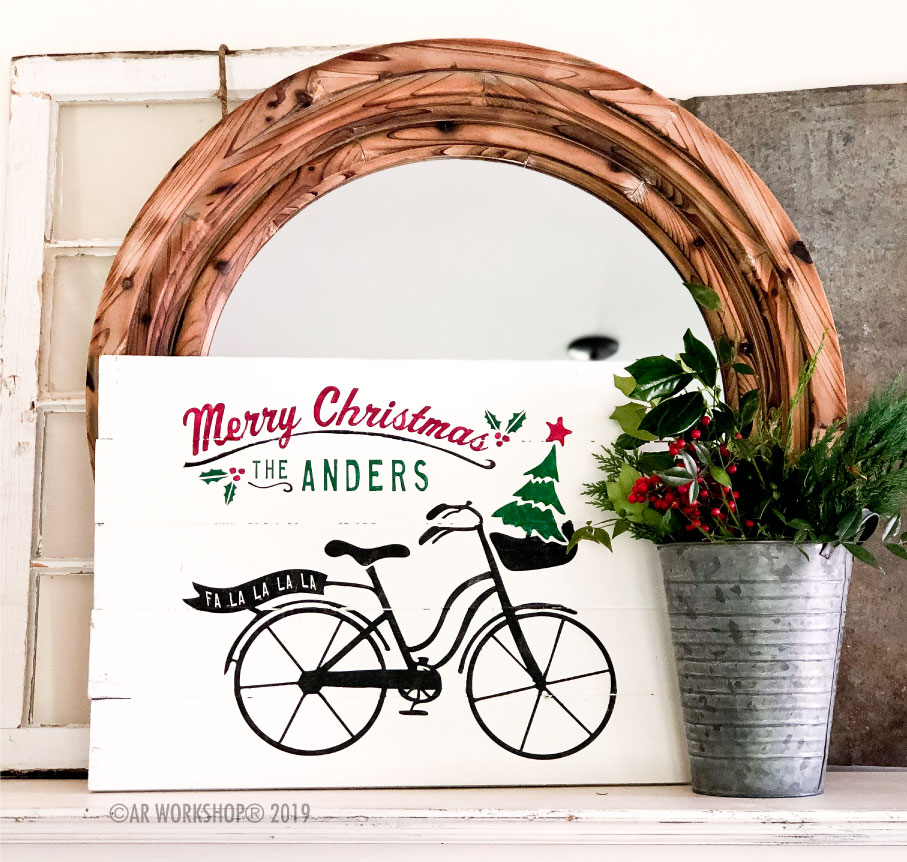 merry christmas bicycle plank 17.5x24
