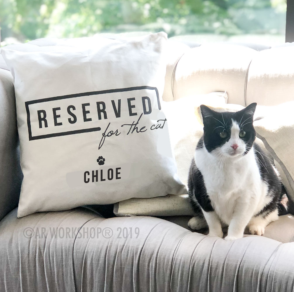 reserved for the cat canvas pillow
