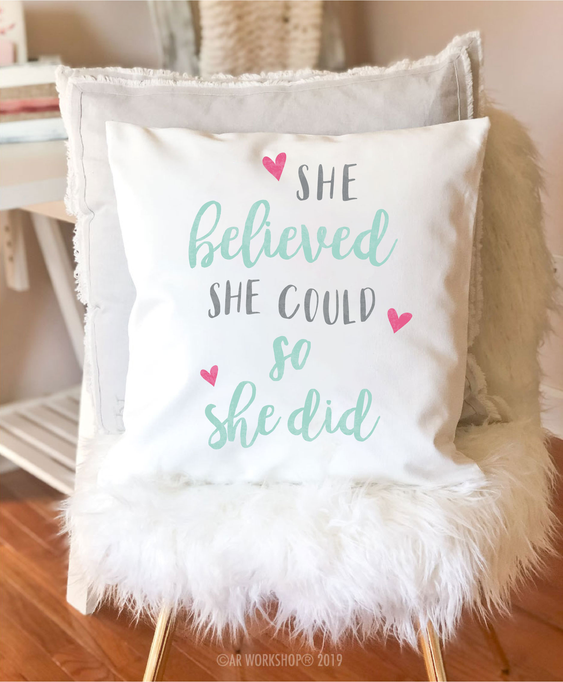 she believed she could canvas pillow