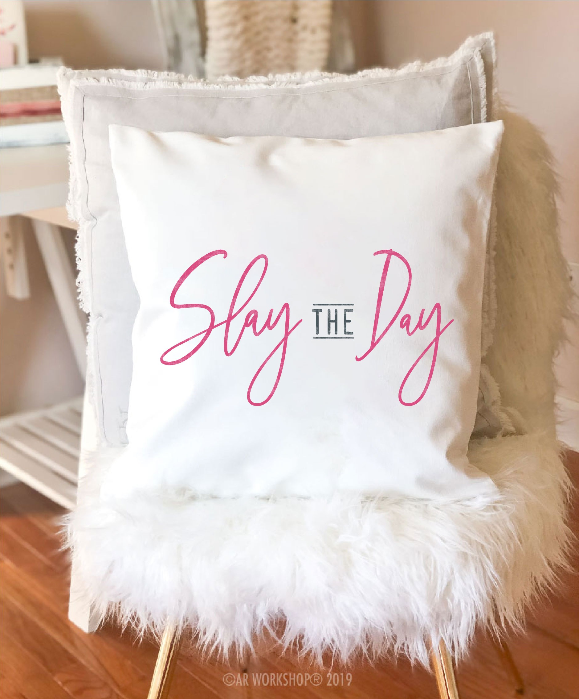slay the day canvas pillow