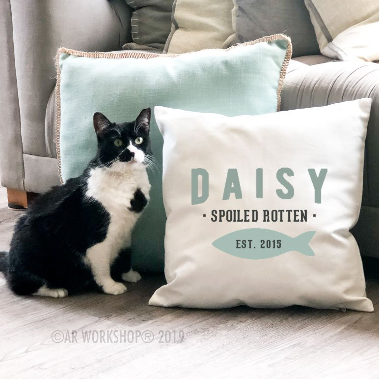 spoiled rotten established cat canvas pillow