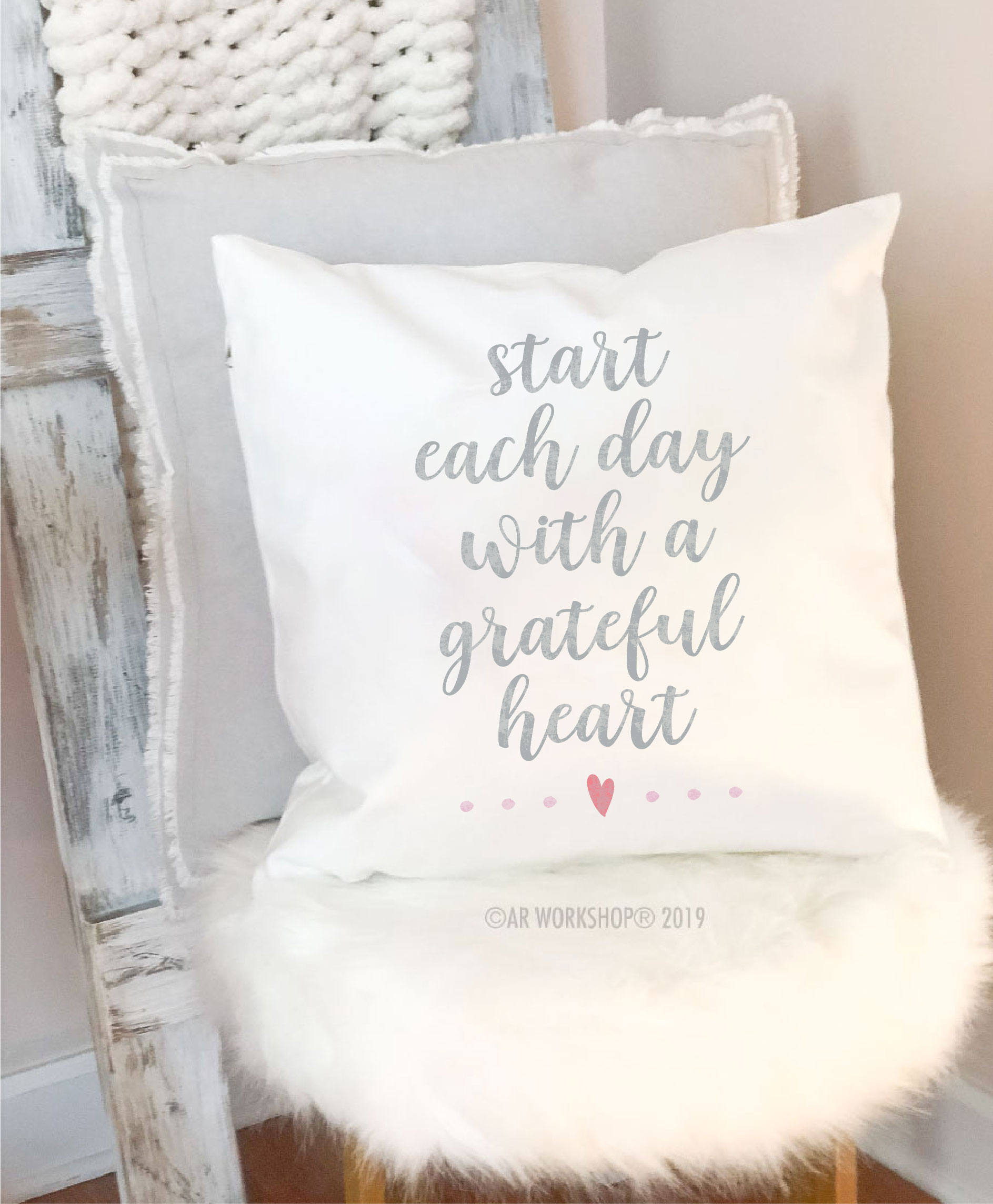 start each day canvas pillow