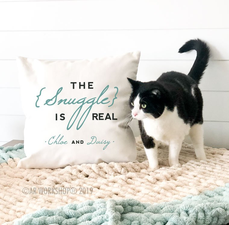 the snuggle is real cat canvas pillow