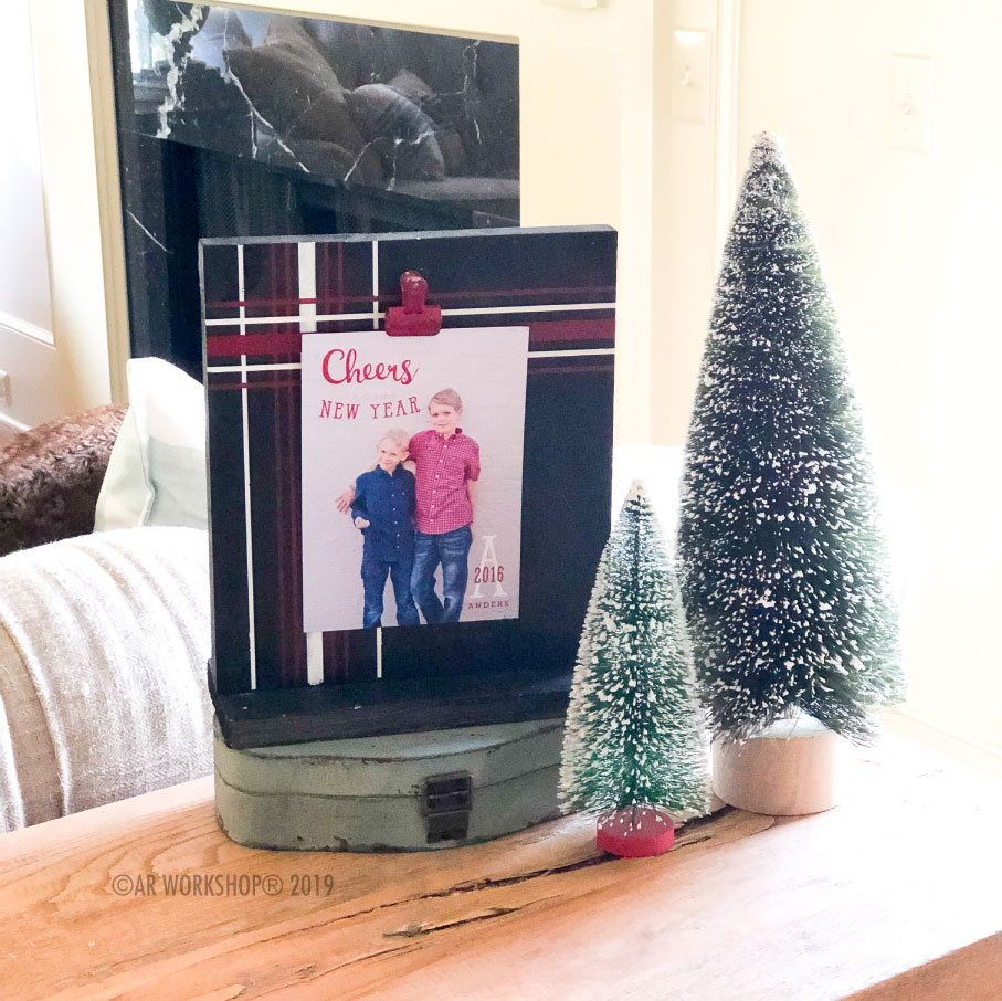 traditional christmas plaid standing photo frame