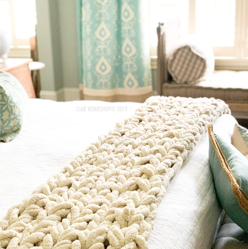 chunky knit luxe runner - shown as a bed runner