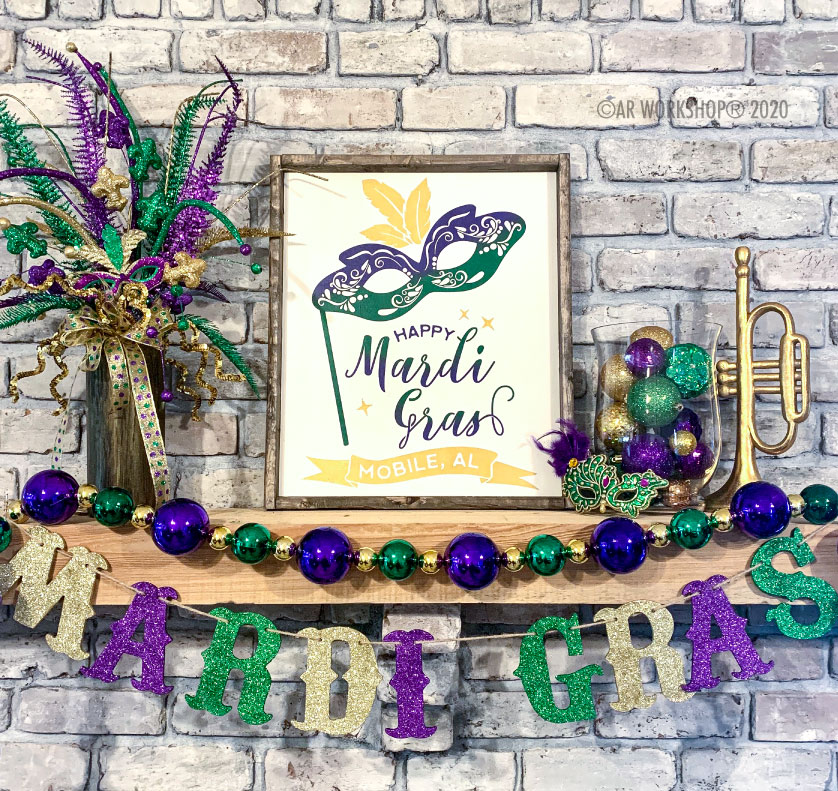 Mardi Gras Framed Wood Sign