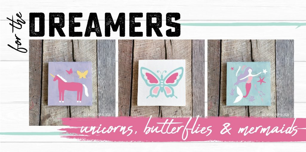 unicorns, butterflies, and mermaids 10x10