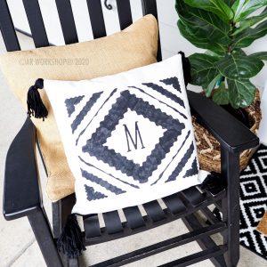 Diamond Ikat Initial Pillow with Tassels