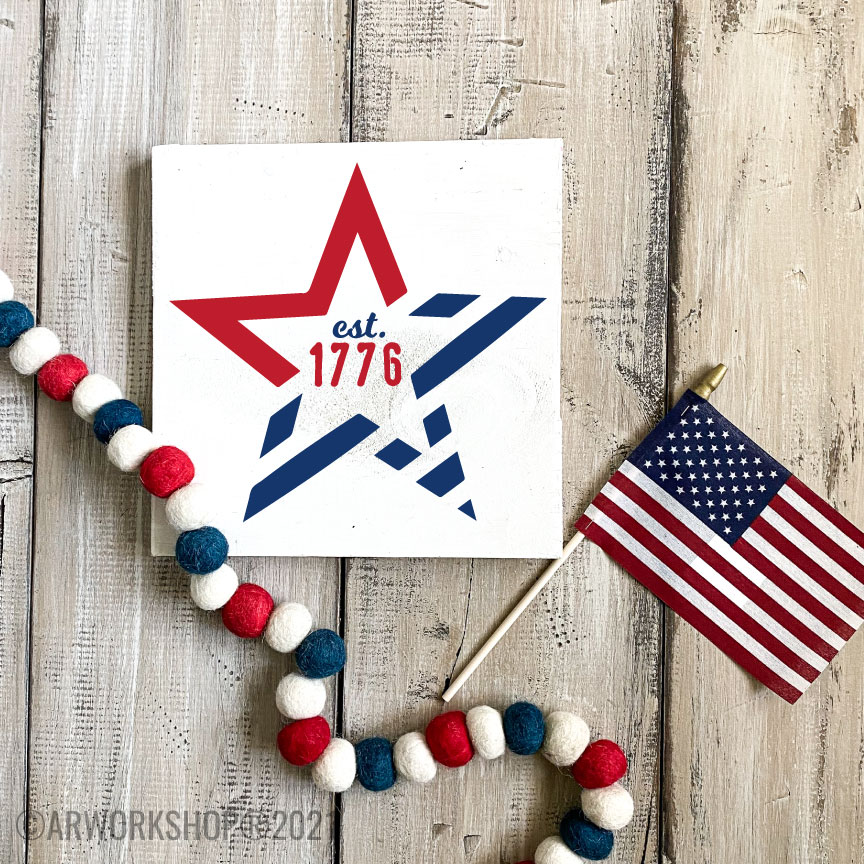 1776 Stars and Stripes DIY wood sign