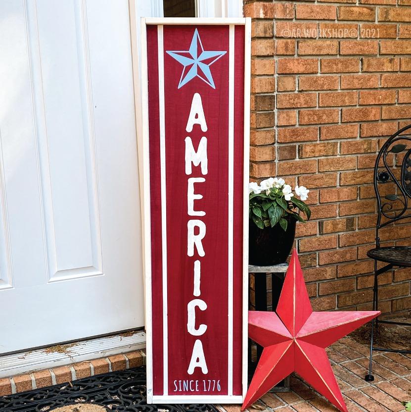 America Star 1776 framed wood porch sign