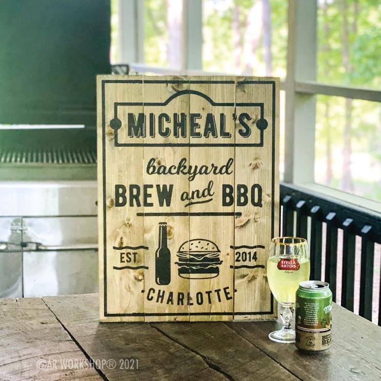 Backyard Brew BBQ DIY wood sign